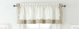 """Waterford Cassia Window Valance Linen Cotton 60""""x14"""" White Natural - $49.38"""