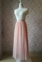Blush Pink Pleated Tulle Skirt Tulle Pleated Maxi Skirt Elastic High Waist Band image 2