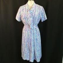 Purple Aqua Watercolor Neck bow tie Easter dress With Belt volup Xl - $48.51