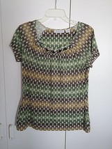 LIZ CLAIBORNE LADIES SS KNIT TOP-M-RAYON/POLYESTER-WORN ONCE-COOL/COMFY/... - $8.99