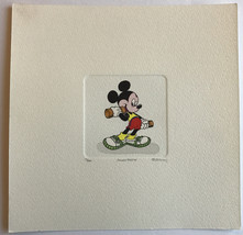 MICKEY MOUSE ETCHING ARTWORK SOWA & REISER #D/500 DISNEY HAND PAINTED WE... - $99.00