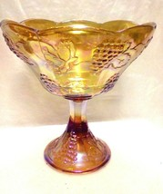Bride's Bowl Carnival Glass Harvest Amber/Gold Grapes Leaves Compote - $24.75