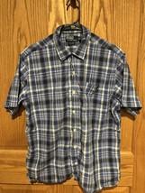 Ralph Lauren Mens Bluenplaid Short Sleeve Button Down Sz Xl - $9.49