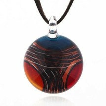 Hand Blown Venetian Murano Glass Multi-Colored Red Blue Yellow Pendant N... - $39.10