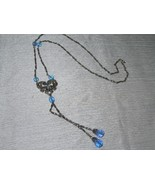 Estate Long Silvertone Twist Bar Links Chain with Blue Plastic Beads & H... - $10.39