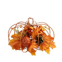 "Northlight 12"" Autumn Harvest Orange Maple Leaf Berry Thanksgiving Pumpk... - £40.61 GBP"