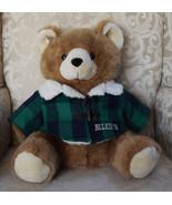 BELKIE '94 BROWN TEDDY BEAR PLUSH GREEN PLAID JACKET VINTAGE STUFFED ANI... - $36.05