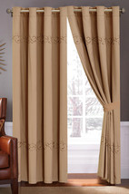 4-Pc Floral Vine Scroll Embroidery Curtain Set Coffee Brown Drape Valance Liner - $40.89