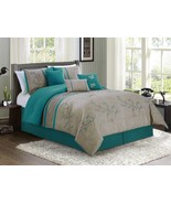 7-Piece Cherry Blossoms Floral Embroidery Bedding Comforter Set Teal Cal... - $79.99