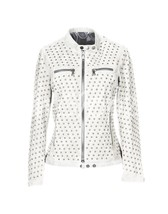 Discount Universe Woman White Full Silver Round Studded Biker Leather Ja... - $219.99