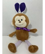 Galerie Cadbury plush brown monkey Easter bunny ears purple ribbon strip... - $9.89