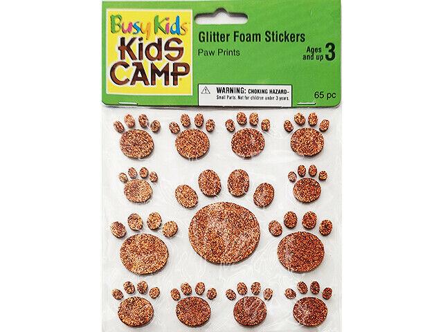 Joann's Busy Kids Camp Glitter Foam Paw Print Stickers #142-5552