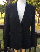Talbots Jacket Blazer Women 6 Black Italian Wool Two Button Notch Collar... - $47.47