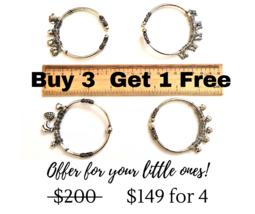 Charms Bracelets, Set of 4 cuff bracelets in Sterling Silver! (Petite Size) - $149.00