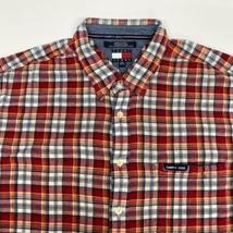 Tommy Hilfiger Jeans Button Up Shirt Men's 2XL XXL Short Sleeve Plaid Co... - $18.95