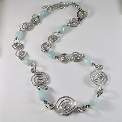NECKLACE THE ALUMINIUM LONG 70 CM WITH AQUAMARINE NATURAL BLUE BLUE