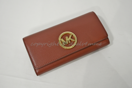 NWT Michael Kors Fulton Carryall Wallet in Brick Red Pebbled/Soft Leather - $129.00