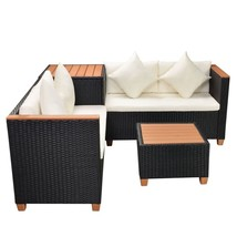 Garden Sofa Set 14 Pieces Poly Rattan WPC Top Black - ₹45,239.84 INR