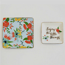 """2 Piece Set - New view """" Little Things """" Floral Trinket Tray - $9.89"""