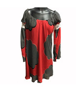 Judith March Red Black White Striped Floral Long Bell Sleeve Dress Junio... - $23.73