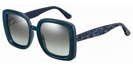 Jimmy Choo CAIT/S JOJ/GY Sunglasses Square Blue Glitter/Grey Mirror Gradient NEW - $143.55