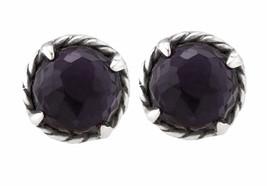 Ladies David Yurman 925 Sterling Silver Black Orchid Châtelaine Stud Ear... - $249.99