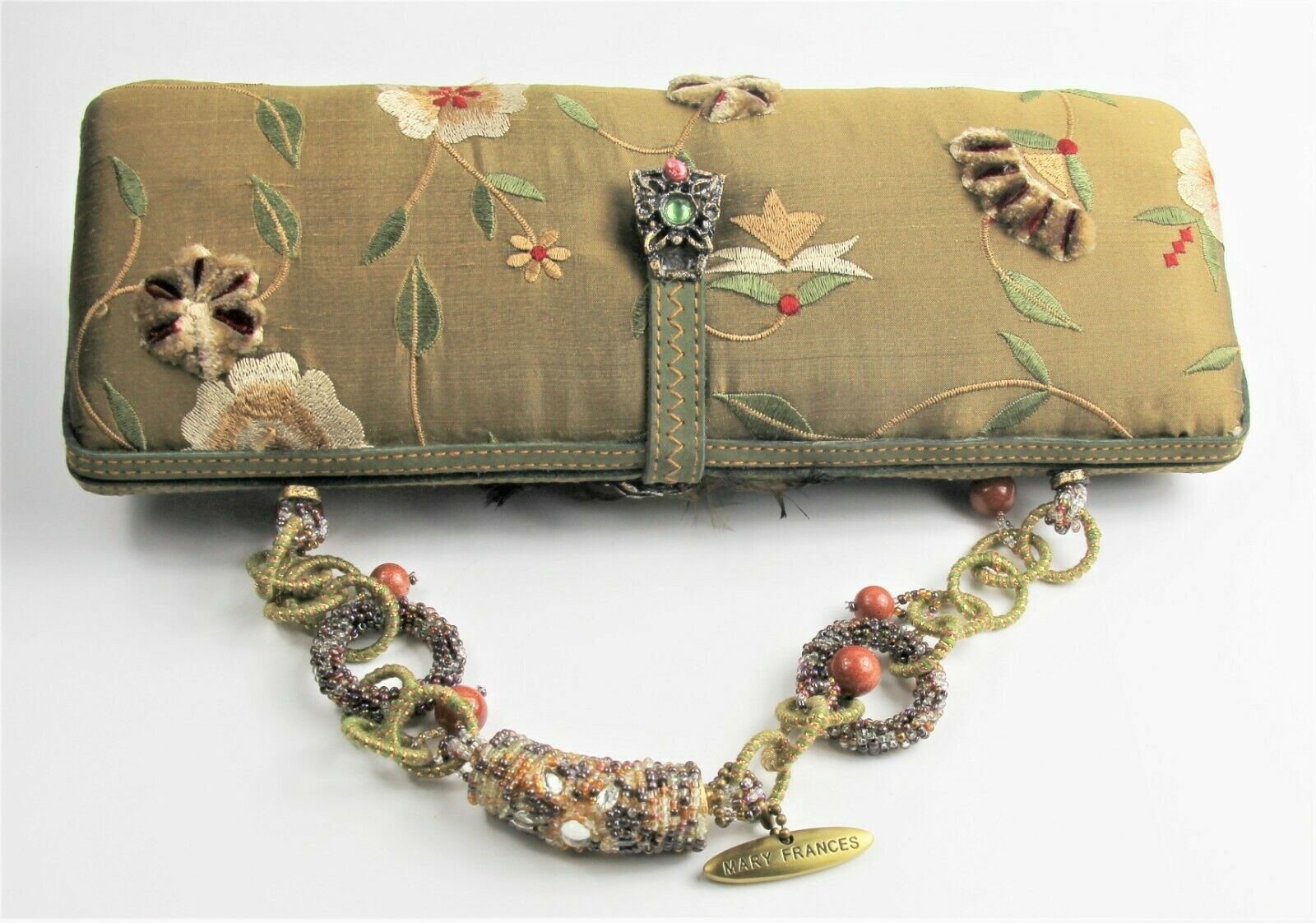 MARY FRANCES PURSE POCKETBOOK HAND BAG CLUTCH HAND BEADED EMBROIDERED SILK