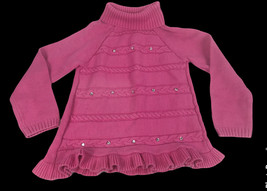 Gymboree Turtle Neck Pink Cable Knit Heart Sweater Top Size 7/8 Long Sleeve - $15.78