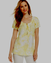 Jm Collection Tie-Dye Embellished Peasant Top SUNSHOWER SIZE SMALL - $7.91