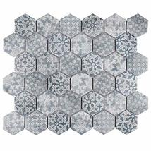 """SomerTile FTC2MDBL Medley Hex Porcelain Mosaic Floor and Wall, 11.125"""" x 12.625"""" image 5"""