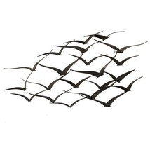 Handcrafted Flock Of Metal Flying Birds Wall Ar... - $111.86