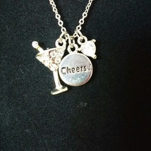"Cookie Lee Necklace Genuine Crystal CZ Pendant Martini Cheers Charms 18""  - $10.89"