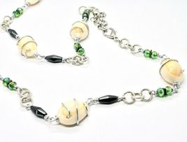 Necklace the Aluminium Long 90 Inch with Seashells Hematite Crystals Green image 5