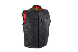 Men's Cowhide Leather Vest Red Liner Elastic Straps Motorcycle Vest - $110.00+