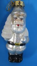 Christmas Glass Silver Santa Claus Ornament - $5.89