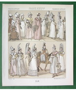 FRANCE Normandy Women Fashion Costume - TINTED Litho Print by Racinet - $6.71