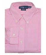 Ralph Lauren Men Custom Fit Stripe Shirt  - Size 16 - Pink/White - $45.53