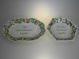 Spode Holiday Sentiment Tray Mini Platter & Hex Fluted Tray 1st Christmas - $12.58