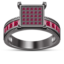 Black Gold Plated 925 Sterling Silver Round Cut Pink Sapphire Engagement... - ₨5,962.53 INR