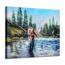 Lake Landscape Canvas Wall Art: Fishing on The Clear Blue River Mountain Trees P