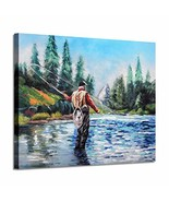 Lake Landscape Canvas Wall Art: Fishing on The Clear Blue River Mountain... - $39.12