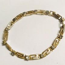 Vintage Avon Tennis Bracelet Gold Tone & CZ Scroll Work Design J0691 image 2