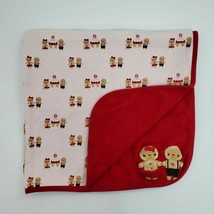 Gymboree Baby Blanket Gingerbread Man Boy Girl House Red White Cotton  B350 - $34.99