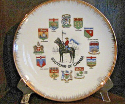 Souvenir of Canada Collector's Plate #CS5978 gold rim Flags of Provinces... - $3.99