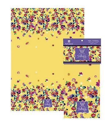 Primary image for Madame Butterfly Tea Towel Ashdene Retro Floral 100% Cotton Yellow Flowers New