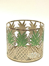 Bath & Body Works 3-WICK Shinny Gold Finished Pineapple Candle Holder Sleeve New - $18.95