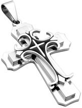 Stainless Steel Cross Pendant Necklace For Men With 24 Inches Rope - £24.57 GBP