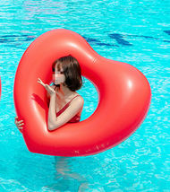 "Big Heart Inflatable Pool Raft Ride On Floats Swim Tube for Adults 47.2"" 120cm image 4"