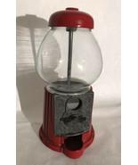 Vintage 80's 1985 Carousel Bubble Gum Machine Metal & Glass Petite - $37.62