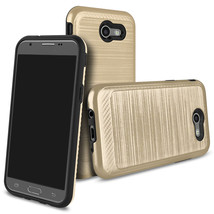 Brushed Texture Protective Case For Samsung Galaxy J3 Emerge / 2017 - Gold  - $4.99